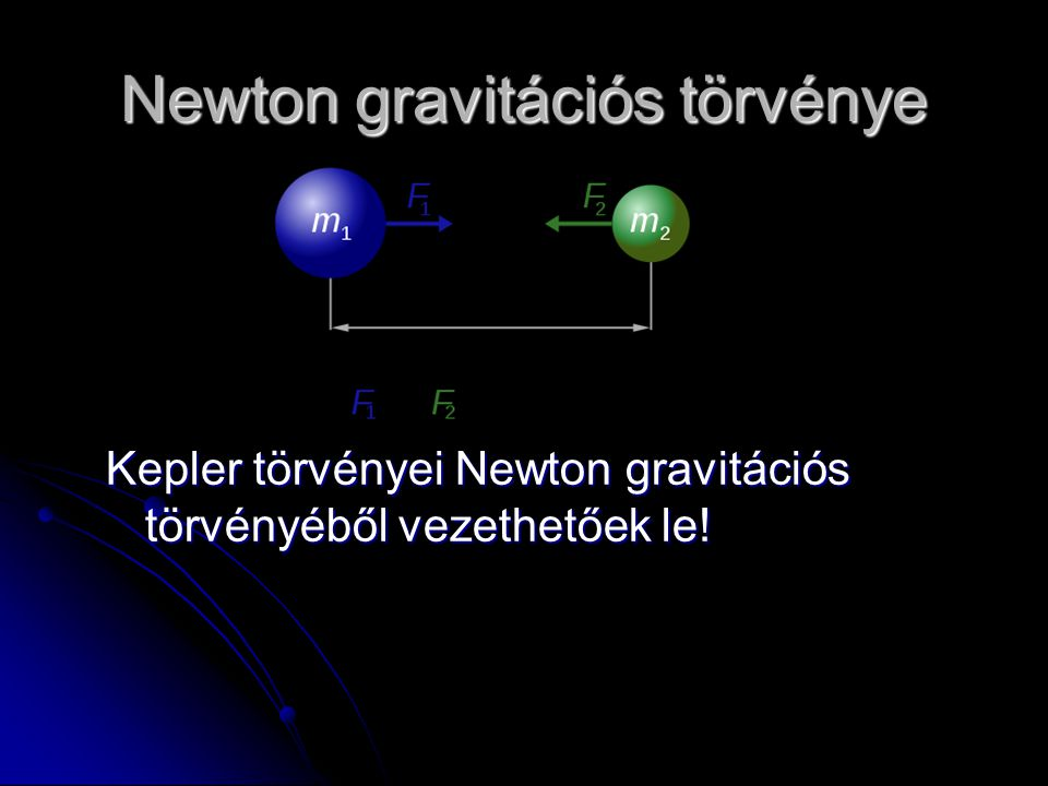 Newton gravitációs törvénye Kepler törvényei Newton gravitációs törvényéből vezethetőek le!