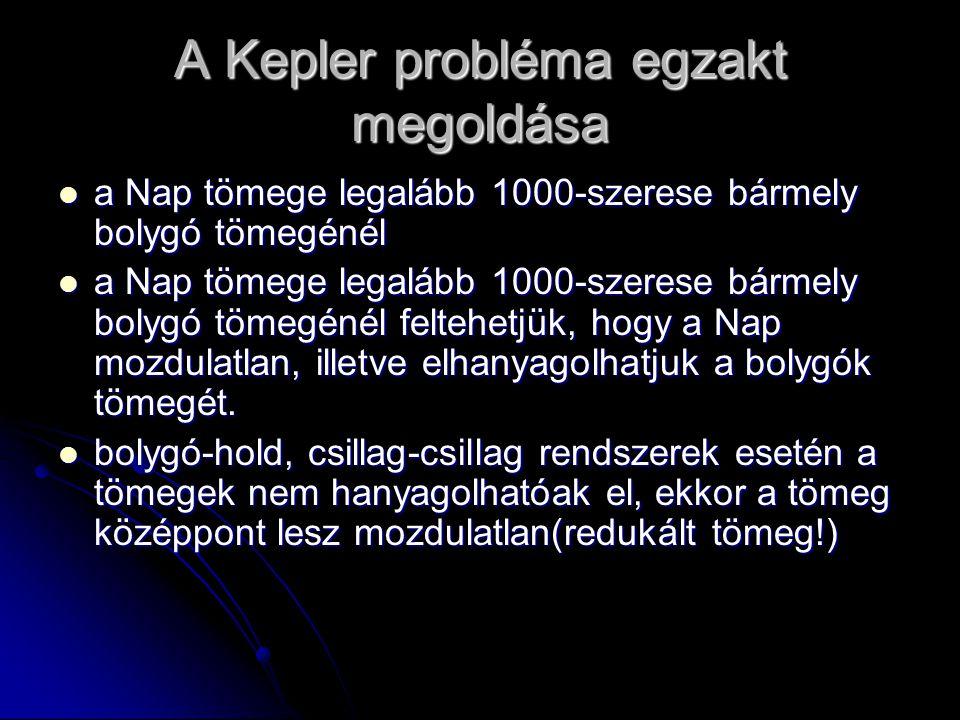 A Kepler probléma egzakt megoldása a Nap tömege legalább 1000-szerese bármely bolygó tömegénél a Nap tömege legalább 1000-szerese bármely bolygó tömeg