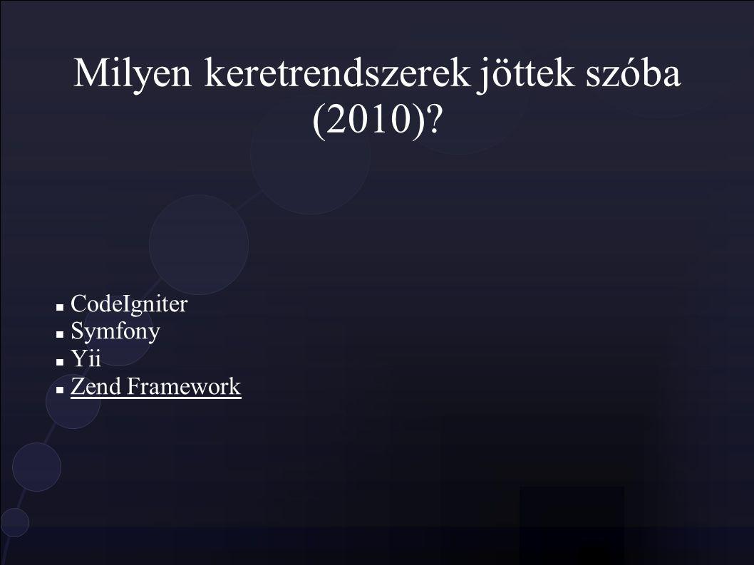 Milyen keretrendszerek jöttek szóba (2010) CodeIgniter Symfony Yii Zend Framework