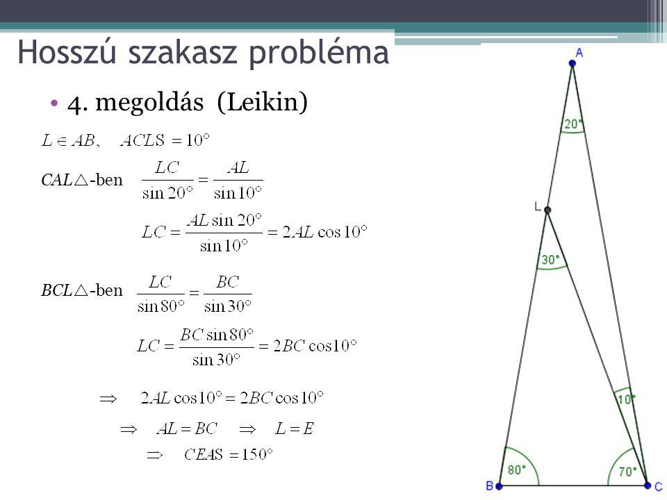 Hosszú szakasz probléma 4. megoldás (Leikin) CAL  -ben BCL  -ben