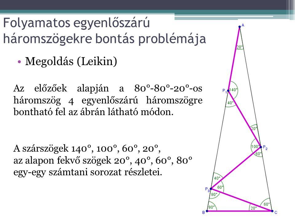 Folyamatos egyenlőszárú háromszögekre bontás problémája Megoldás (Leikin) Az előzőek alapján a 80°-80°-20°-os háromszög 4 egyenlőszárú háromszögre bontható fel az ábrán látható módon.