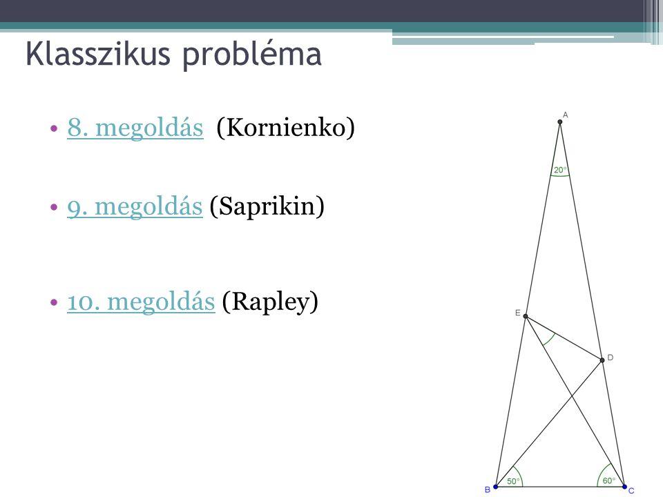 Klasszikus probléma 8. megoldás (Kornienko)8. megoldás 9. megoldás (Saprikin)9. megoldás 10. megoldás (Rapley)10. megoldás