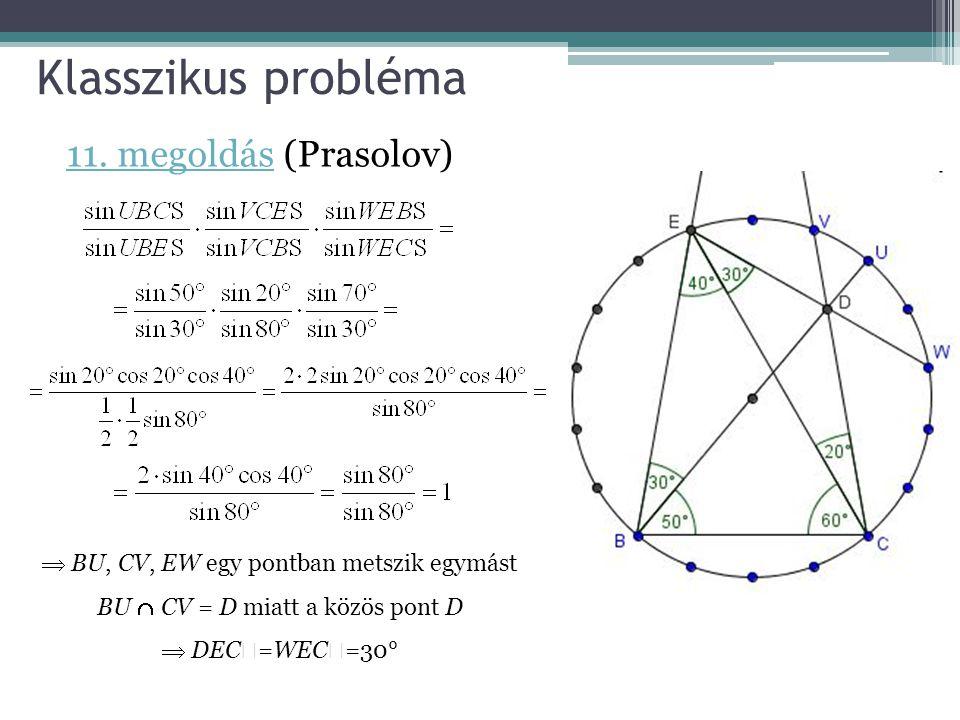 Klasszikus probléma  BU, CV, EW egy pontban metszik egymást BU  CV = D miatt a közös pont D  DEC  =WEC  =30° 11. megoldás11. megoldás (Prasolov)