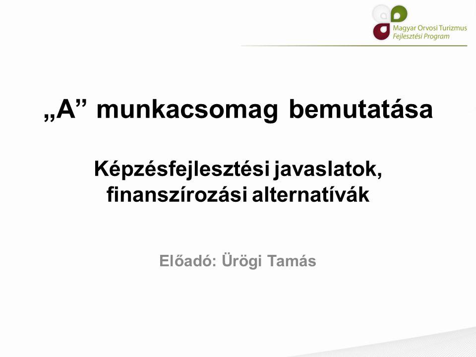 """""""A"""" munkacsomag bemutatása Képzésfejlesztési javaslatok, finanszírozási alternatívák Előadó: Ürögi Tamás"""