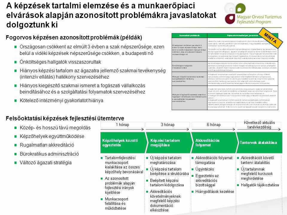 A képzések tartalmi elemzése és a munkaerőpiaci elvárások alapján azonosított problémákra javaslatokat dolgoztunk ki MINTA Fogorvos képzésen azonosíto