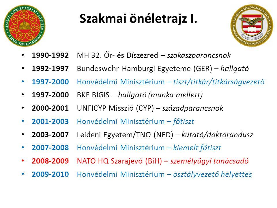 1990-1992MH 32. Őr- és Díszezred – szakaszparancsnok 1992-1997Bundeswehr Hamburgi Egyeteme (GER) – hallgató 1997-2000Honvédelmi Minisztérium – tiszt/t
