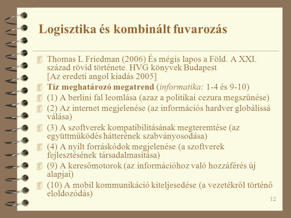 12 4 Thomas L Friedman (2006) És mégis lapos a Föld. A XXI. század rövid története. HVG könyvek Budapest [Az eredeti angol kiadás 2005] 4 Tíz meghatár