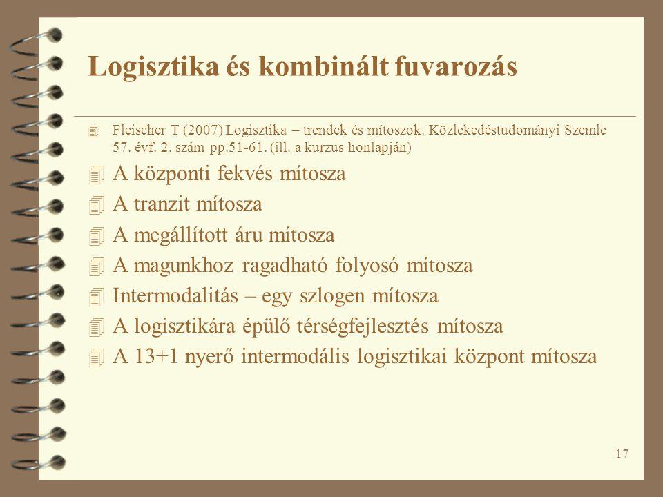 17 4 Fleischer T (2007) Logisztika – trendek és mítoszok. Közlekedéstudományi Szemle 57. évf. 2. szám pp.51-61. (ill. a kurzus honlapján) 4 A központi