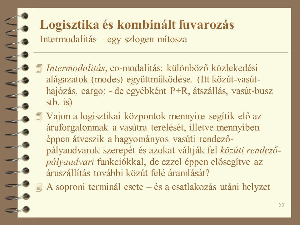 22 4 Intermodalitás, co-modalitás: különböző közlekedési alágazatok (modes) együttműködése.