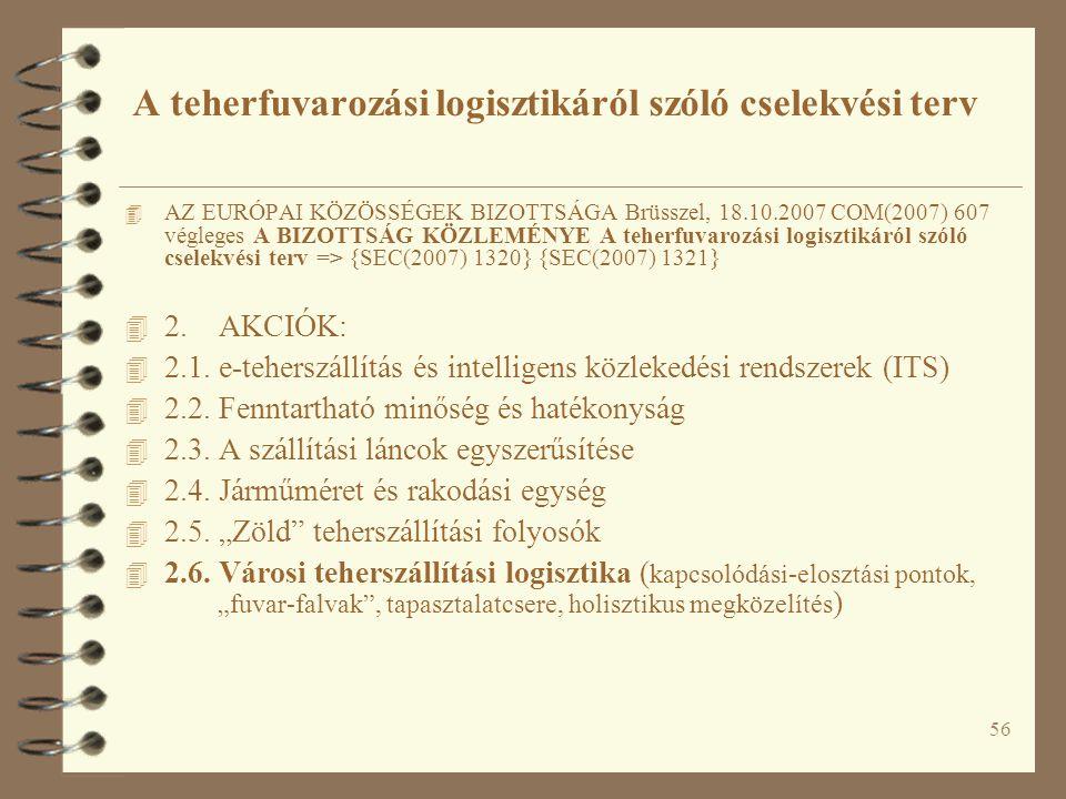 56 4 AZ EURÓPAI KÖZÖSSÉGEK BIZOTTSÁGA Brüsszel, 18.10.2007 COM(2007) 607 végleges A BIZOTTSÁG KÖZLEMÉNYE A teherfuvarozási logisztikáról szóló cselekvési terv => {SEC(2007) 1320} {SEC(2007) 1321} 4 2.