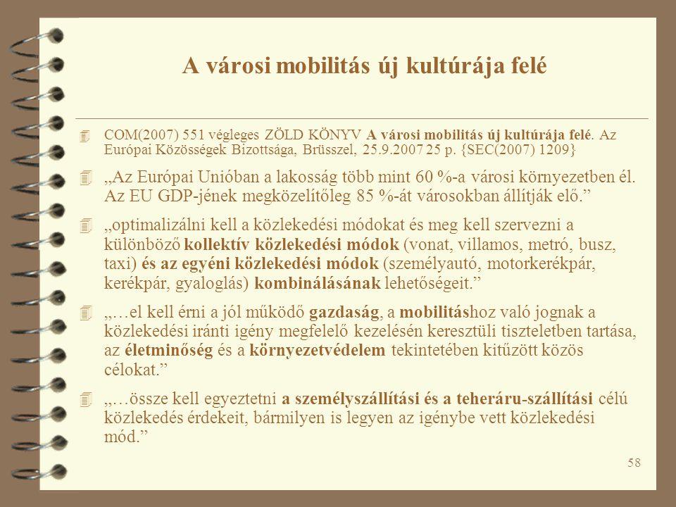 58 4 COM(2007) 551 végleges ZÖLD KÖNYV A városi mobilitás új kultúrája felé. Az Európai Közösségek Bizottsága, Brüsszel, 25.9.2007 25 p. {SEC(2007) 12
