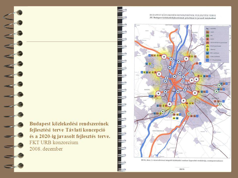 69 Budapest közlekedési rendszerének fejlesztési terve Távlati koncepció és a 2020-ig javasolt fejlesztés terve. FKT URB konzorcium 2008. december