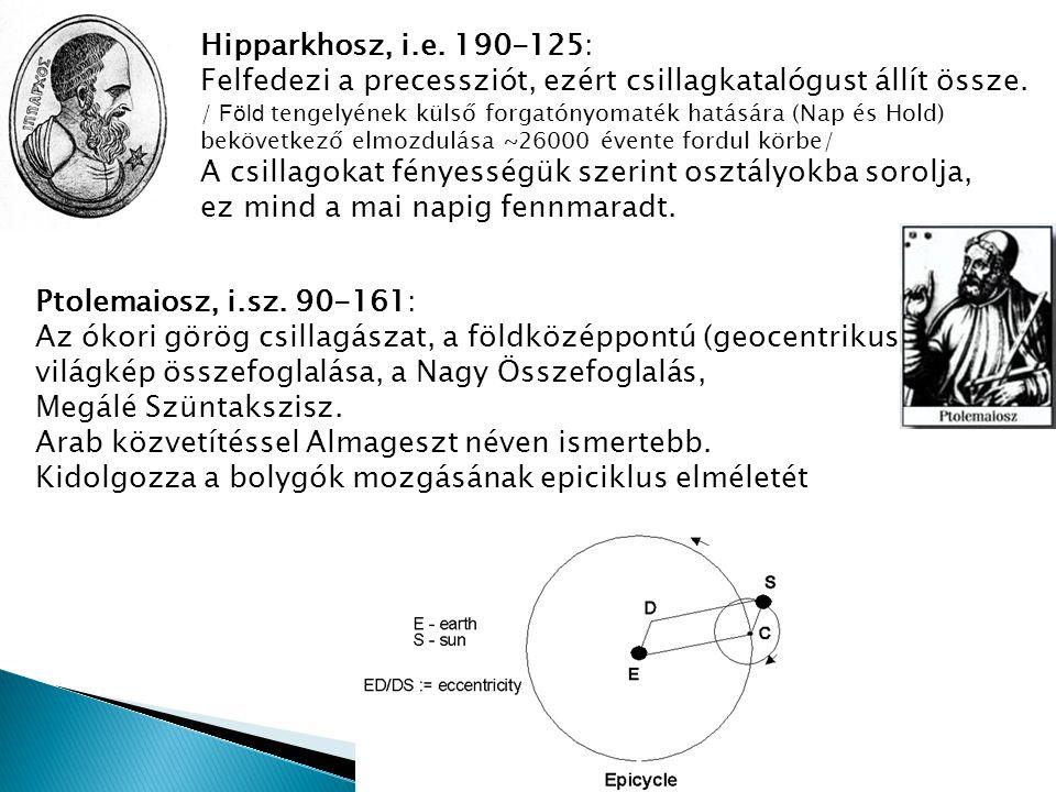 Hipparkhosz, i.e. 190-125: Felfedezi a precessziót, ezért csillagkatalógust állít össze. / Föld tengelyének külső forgatónyomaték hatására (Nap és Hol