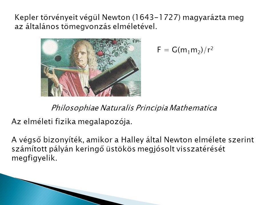 Kepler törvényeit végül Newton (1643-1727) magyarázta meg az általános tömegvonzás elméletével. F = G(m 1 m 2 )/r 2 Philosophiae Naturalis Principia M