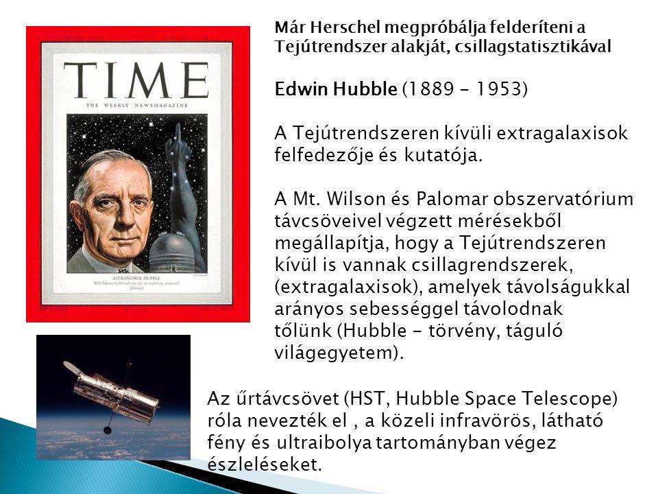 Már Herschel megpróbálja felderíteni a Tejútrendszer alakját, csillagstatisztikával Edwin Hubble (1889 - 1953) A Tejútrendszeren kívüli extragalaxisok