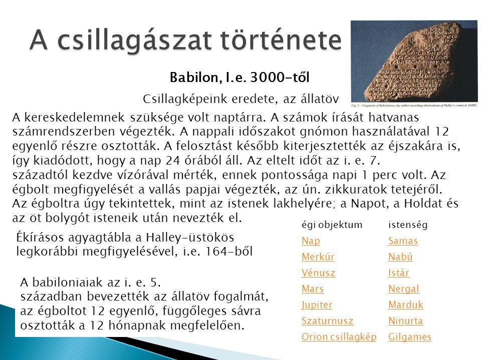 Babilon, I.e. 3000-től Ékírásos agyagtábla a Halley-üstökös legkorábbi megfigyelésével, i.e. 164-ből Csillagképeink eredete, az állatöv A kereskedelem
