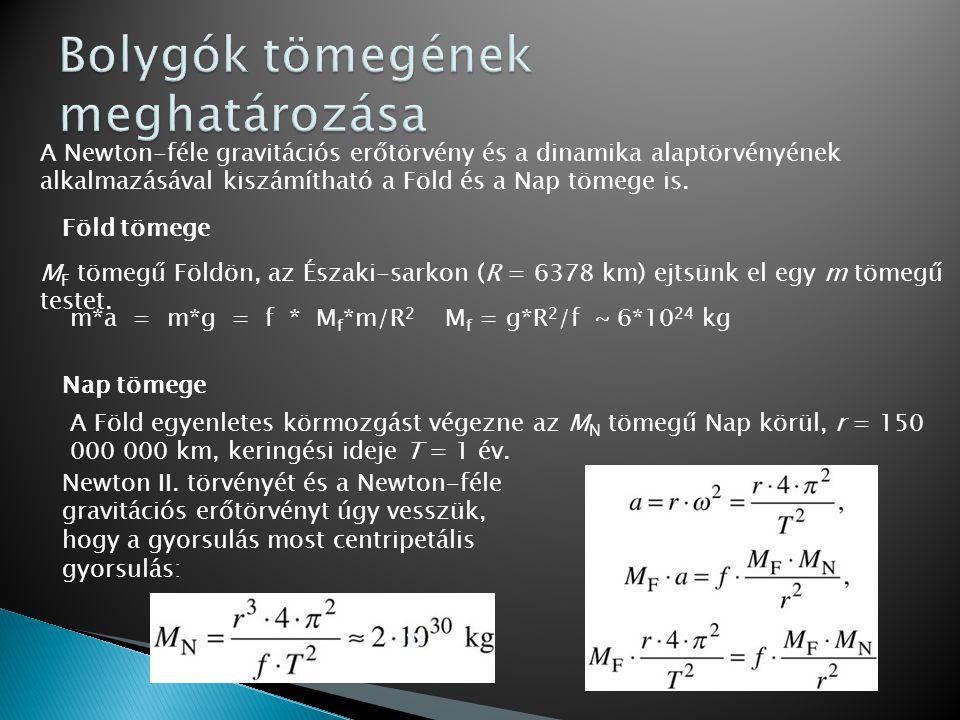 A Newton-féle gravitációs erőtörvény és a dinamika alaptörvényének alkalmazásával kiszámítható a Föld és a Nap tömege is. Föld tömege M F tömegű Földö