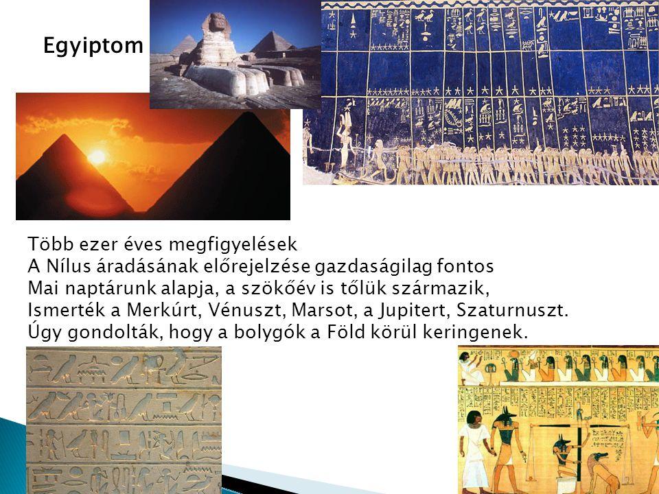 Egyiptom Több ezer éves megfigyelések A Nílus áradásának előrejelzése gazdaságilag fontos Mai naptárunk alapja, a szökőév is tőlük származik, Ismerték