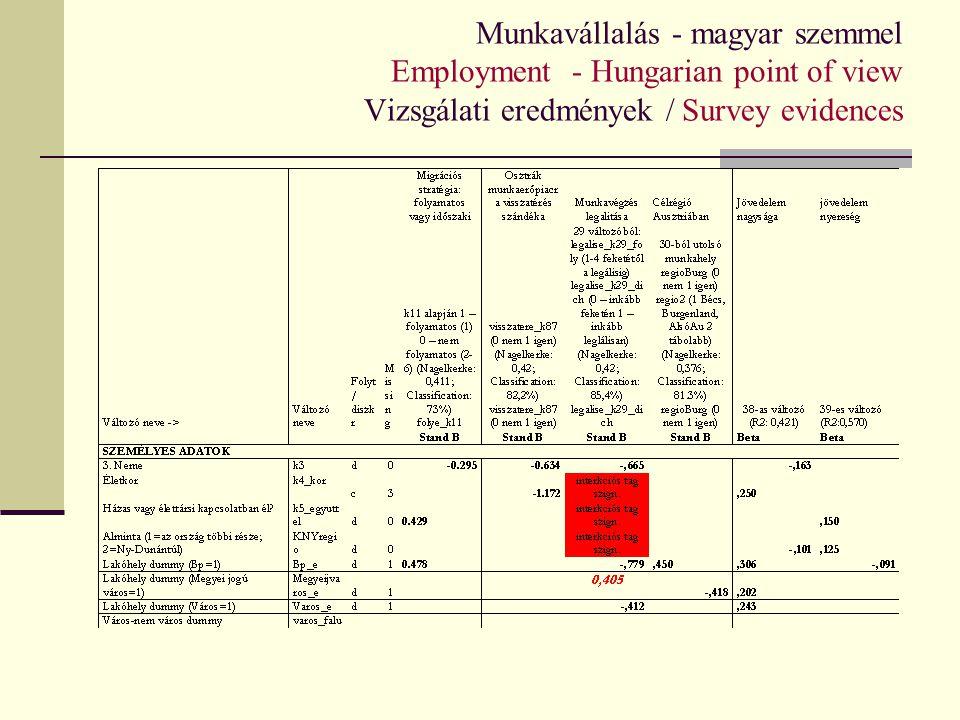 Munkavállalás - magyar szemmel Employment - Hungarian point of view Vizsgálati eredmények / Survey evidences