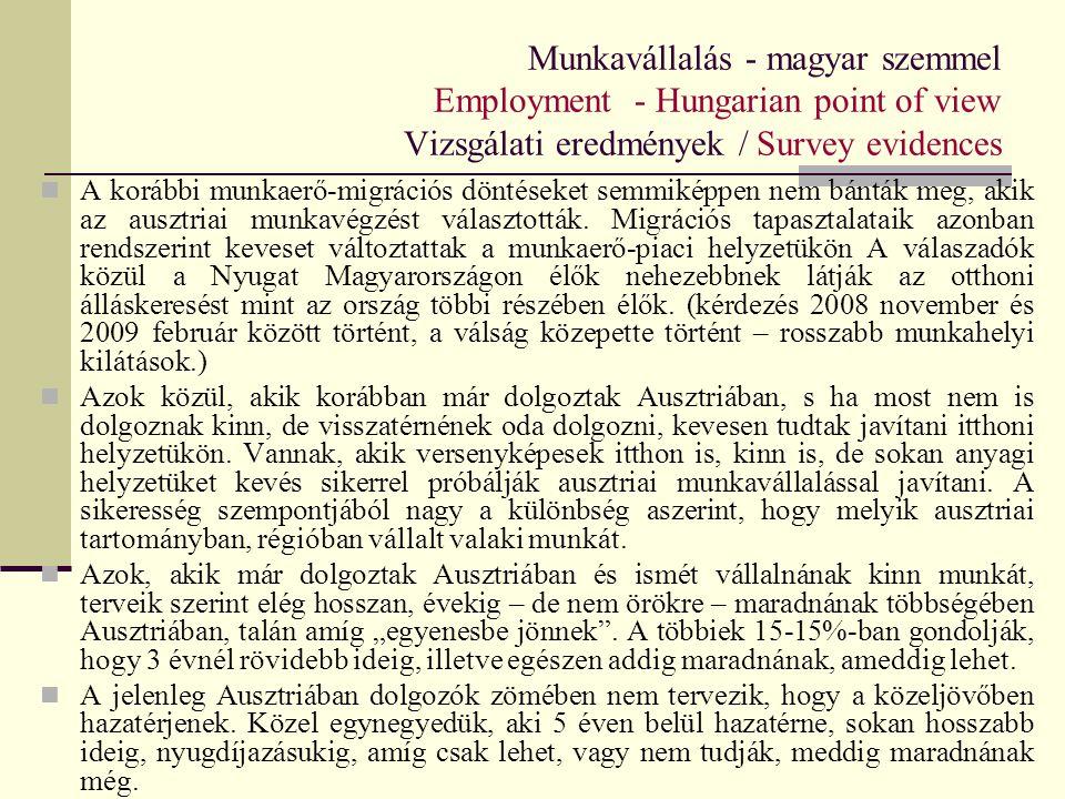 Munkavállalás - magyar szemmel Employment - Hungarian point of view Vizsgálati eredmények / Survey evidences A korábbi munkaerő-migrációs döntéseket s