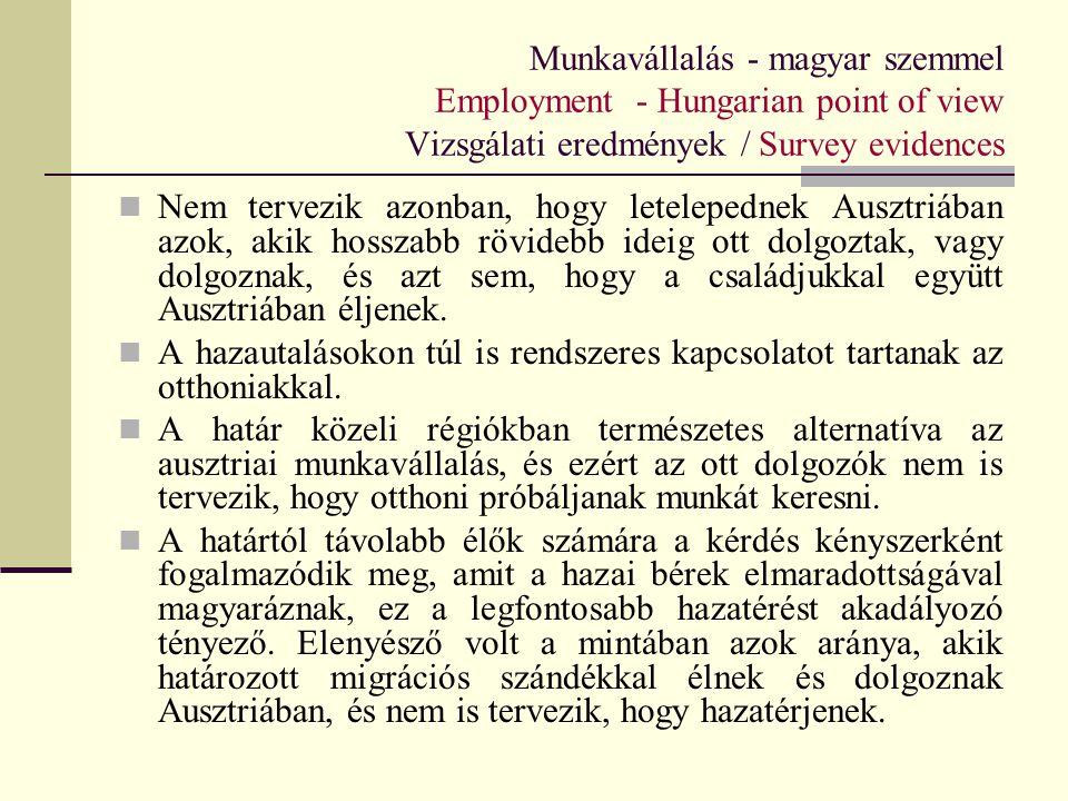 Munkavállalás - magyar szemmel Employment - Hungarian point of view Vizsgálati eredmények / Survey evidences Nem tervezik azonban, hogy letelepednek A