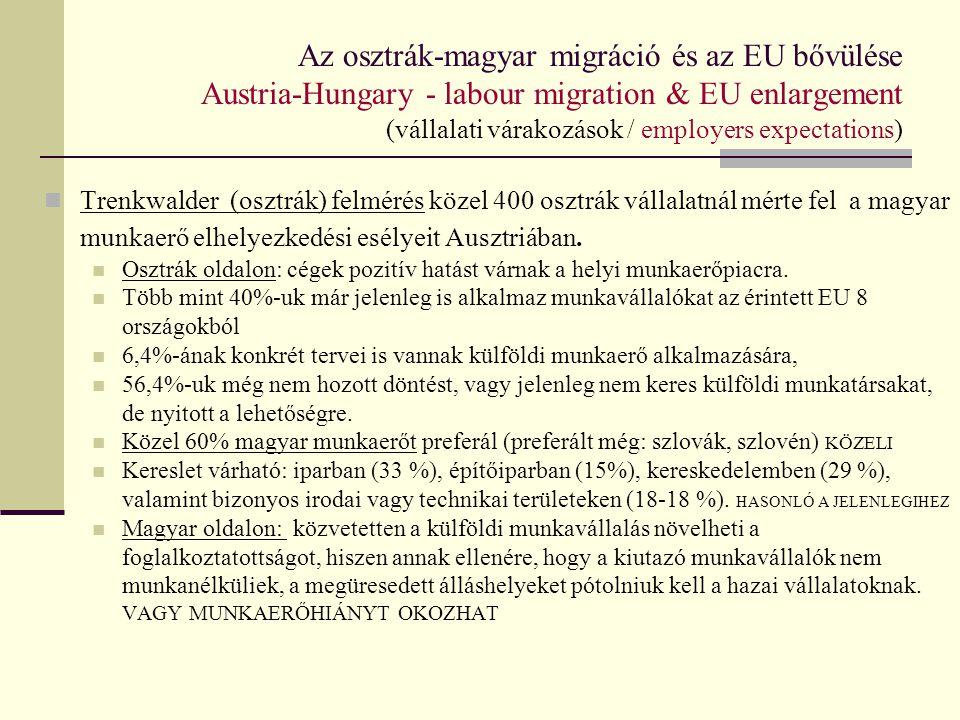 Az osztrák-magyar migráció és az EU bővülése Austria-Hungary - labour migration & EU enlargement (magyarázatok, definíció és mérés) Munkaerő-migráció – definíciós kérdések megjegyzés: -nehezen pontosítható, egymásba olvadó kategóriák -statisztikai számbavételt / statisztikák alapján levont következtetéseket befolyásolja, hogy mit vizsgálunk - napi/heti/ tartós, 1 éven túli, stb.