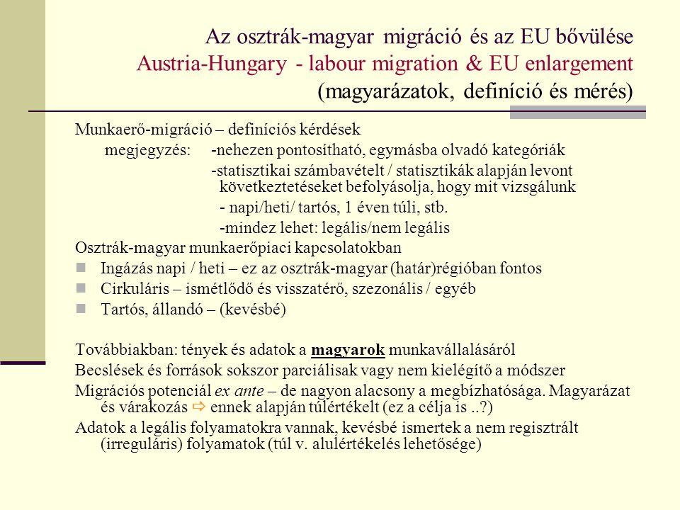 Magyar munkavállalók Ausztriában, engedélyek alapján Hungarian employees in Austria, according to work permits 2000-2010 több mint egy éve dolgozik folyamatosan Ausztriában a magyar munkavállalók kétharmada - azaz EU engedéllyel vállalhatott munkát.