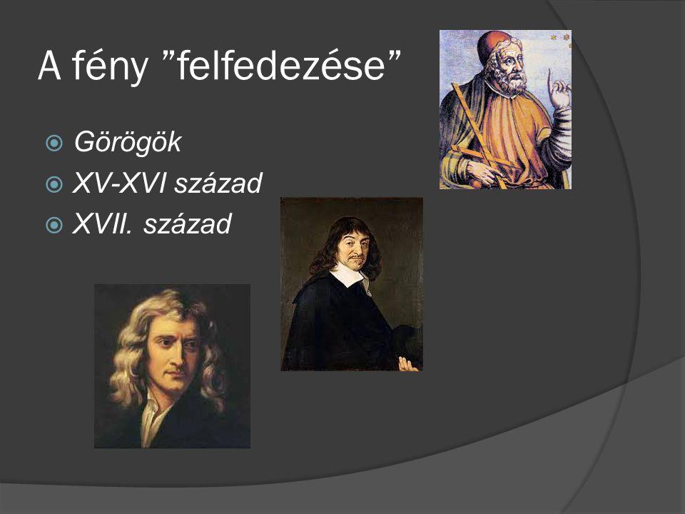 """A fény """"felfedezése""""  Görögök  XV-XVI század  XVII. század"""