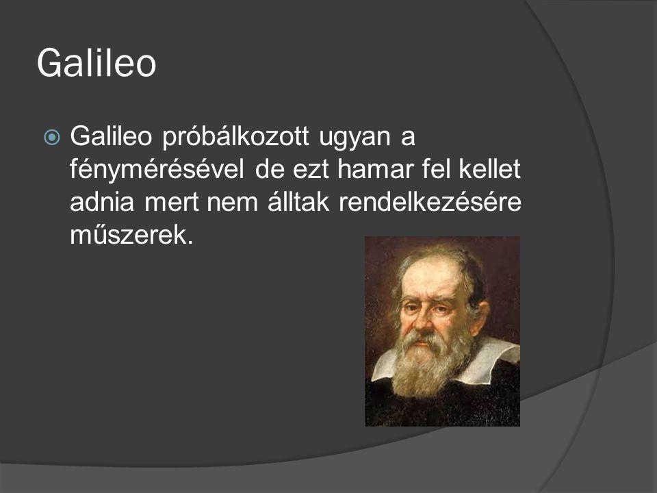 Galileo  Galileo próbálkozott ugyan a fénymérésével de ezt hamar fel kellet adnia mert nem álltak rendelkezésére műszerek.