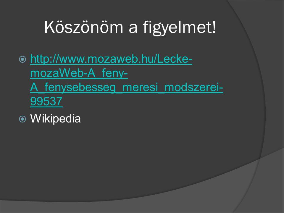 Köszönöm a figyelmet!  http://www.mozaweb.hu/Lecke- mozaWeb-A_feny- A_fenysebesseg_meresi_modszerei- 99537 http://www.mozaweb.hu/Lecke- mozaWeb-A_fen