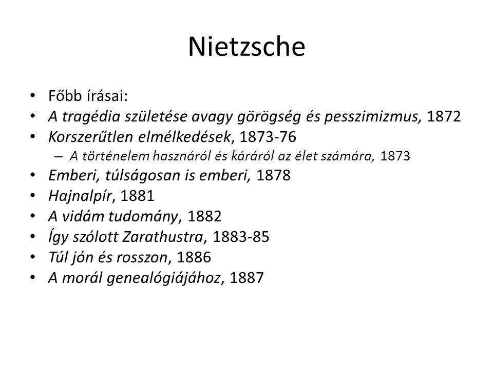 Nietzsche Főbb írásai: A tragédia születése avagy görögség és pesszimizmus, 1872 Korszerűtlen elmélkedések, 1873-76 – A történelem hasznáról és káráró