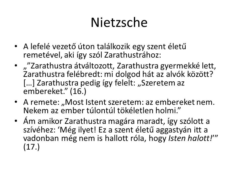 """Nietzsche A lefelé vezető úton találkozik egy szent életű remetével, aki így szól Zarathustrához: """"""""Zarathustra átváltozott, Zarathustra gyermekké let"""