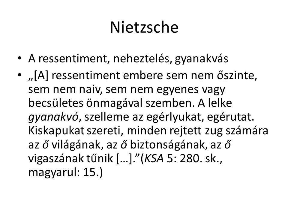 """Nietzsche A ressentiment, neheztelés, gyanakvás """"[A] ressentiment embere sem nem őszinte, sem nem naiv, sem nem egyenes vagy becsületes önmagával szem"""