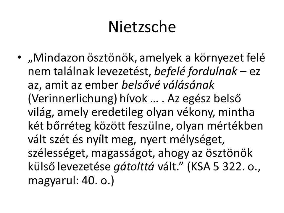 """Nietzsche """"Mindazon ösztönök, amelyek a környezet felé nem találnak levezetést, befelé fordulnak – ez az, amit az ember belsővé válásának (Verinnerlic"""