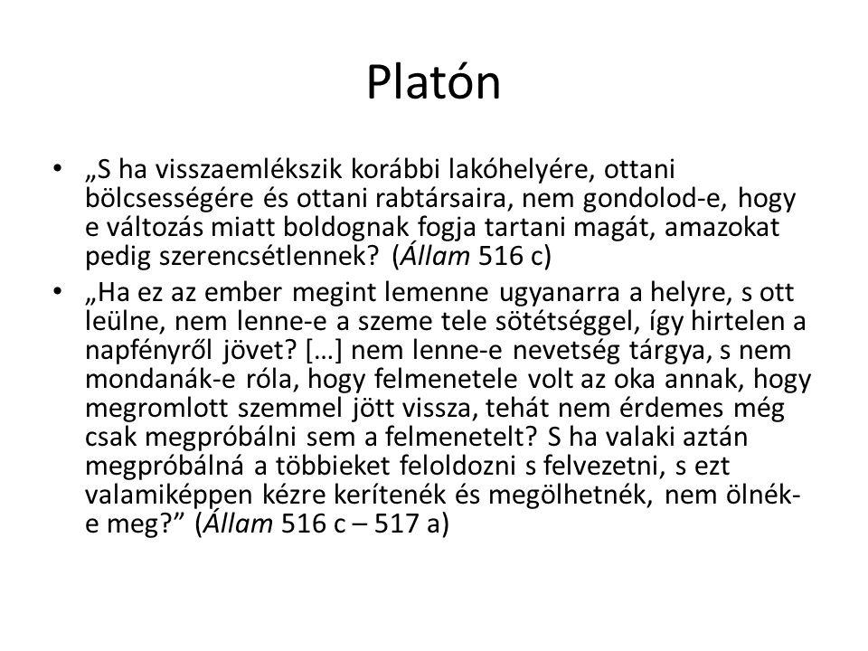 """Platón """"S ha visszaemlékszik korábbi lakóhelyére, ottani bölcsességére és ottani rabtársaira, nem gondolod-e, hogy e változás miatt boldognak fogja ta"""