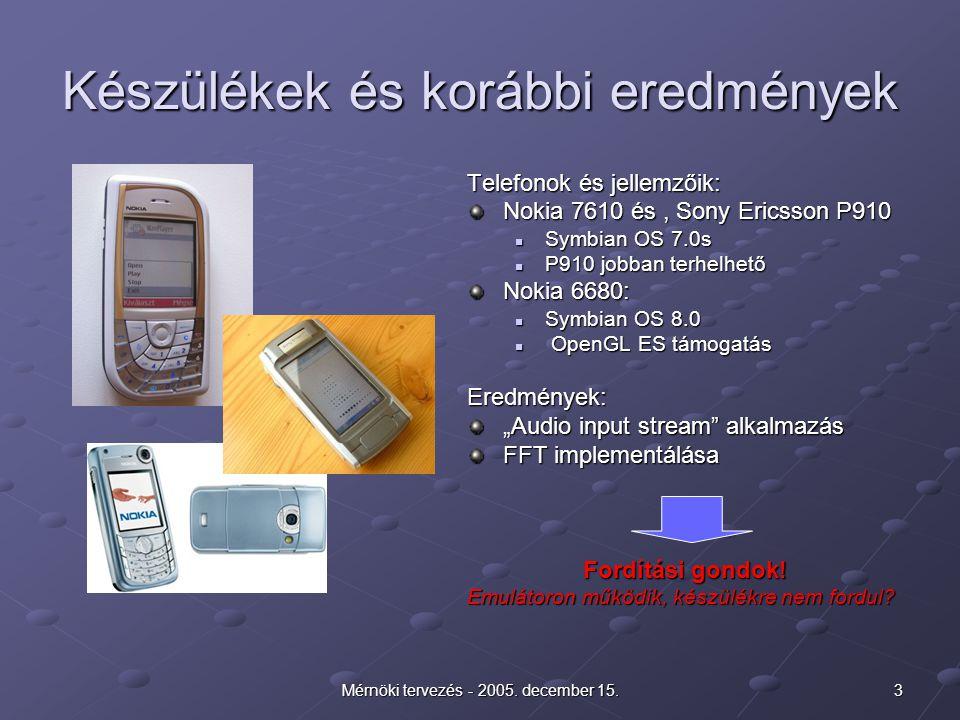 3Mérnöki tervezés - 2005. december 15. Készülékek és korábbi eredmények Telefonok és jellemzőik: Nokia 7610 és, Sony Ericsson P910 Symbian OS 7.0s P91