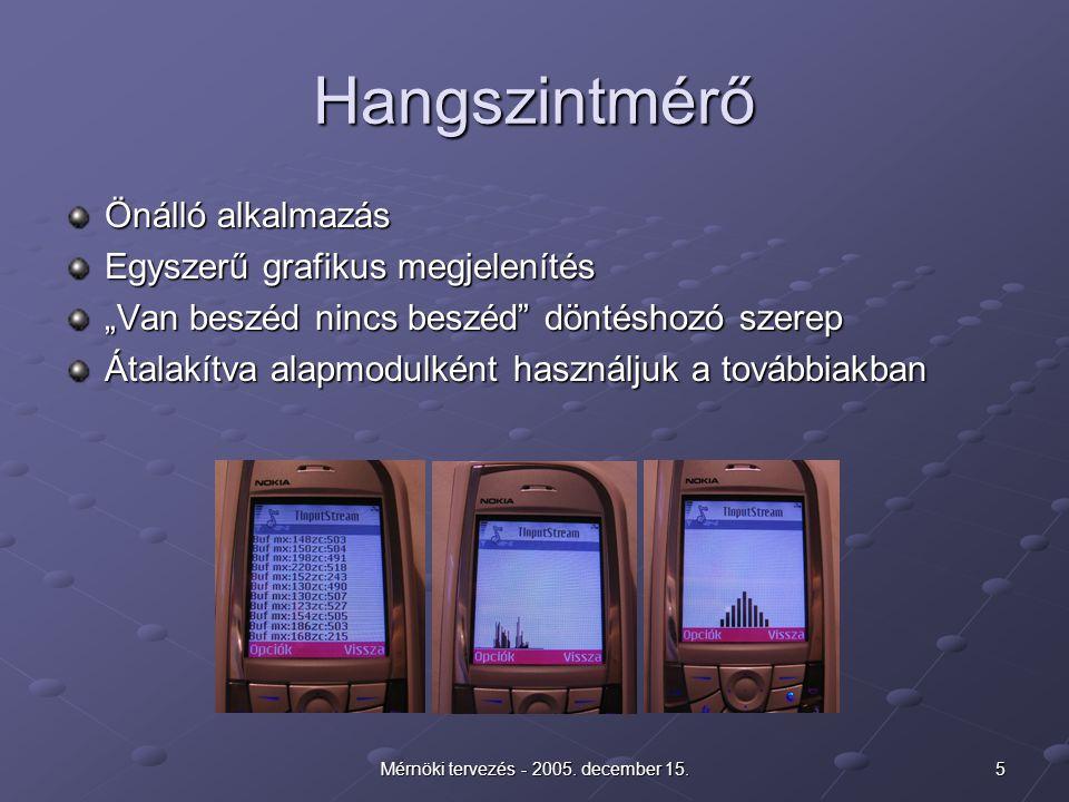 """5Mérnöki tervezés - 2005. december 15. Hangszintmérő Önálló alkalmazás Egyszerű grafikus megjelenítés """"Van beszéd nincs beszéd"""" döntéshozó szerep Átal"""