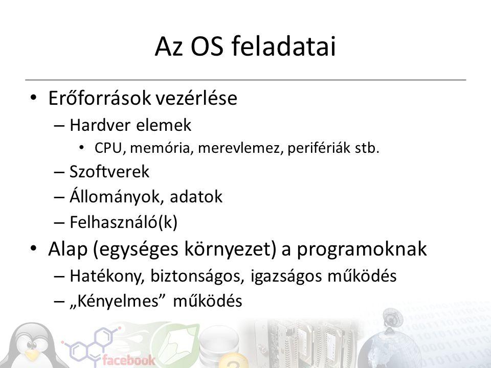 OS szolgáltatások, feladatok Folyamatok kezelése Memória kezelés Adattárak kezelése I/O menedzsment (pl.