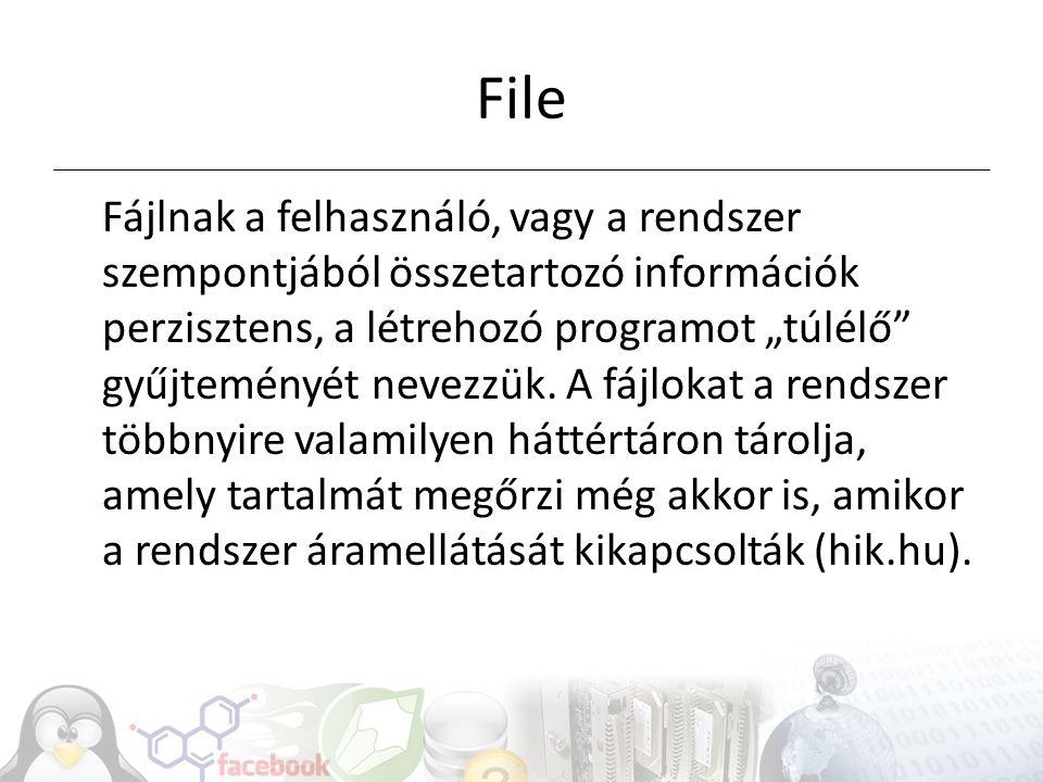 Állományok (file-ok) Programok: futtatható kódok (alkalmazások) Dokumentumok: ember számára érthető információ gyűjteménye Konténer (könyvtár, directory, folder) Jogok, jogosultság – Unix példa: tulajdonos/csoport/mindenki 754: rwx/rw/r