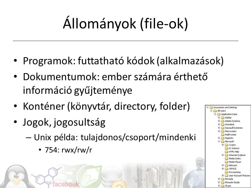File-rendszerek Szektorokból file, katalógus Szótár: file-nevek File-rendszerek feladatai – File-ok tárolása, hierarchikus rendezése, kezelése, file-műveletek – File-méret, file-ok száma, max.