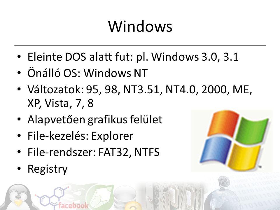 Rendszerleíró adatbázis Konfiguráció leírása pl.