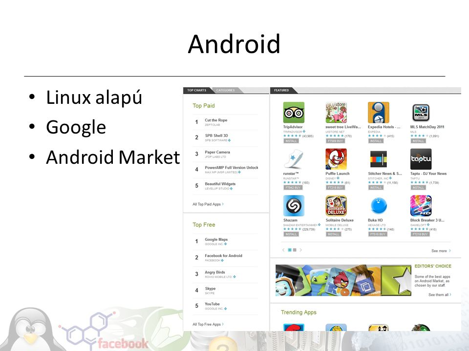 Android Linux alapú Google Android Market