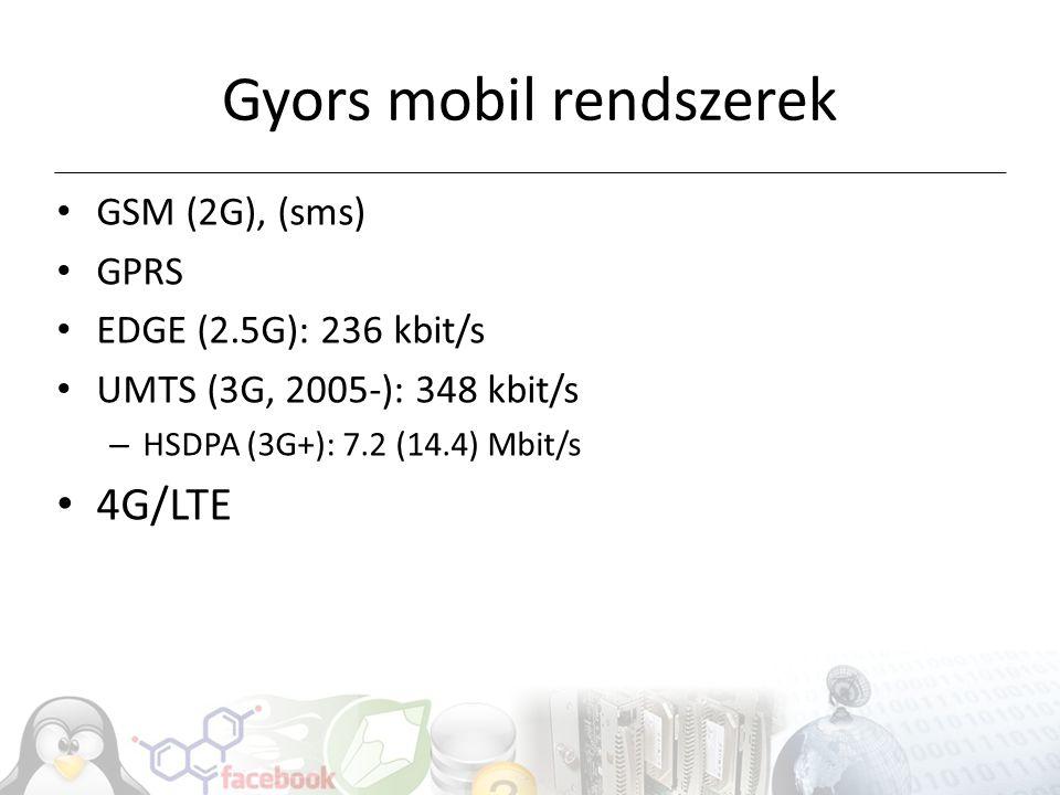 Generációk összehasonlítása (hvg) Hazai adatokRendszerekAlkalmazás idejeAdatletöltési sebesség 1GNMT1990-2003Nem digitális 2GGSM1994-14 kbit/sec 2.5GGPRS2001-58 kbit/sec 2.75GEDGE2003-236 kbit/sec 3GUMTS2005-384 kbit/sec 3.5-3.75GHSDPA, HSUPA2006-14/5.76 Mbit/sec 3.8GHSPA+, HSPA+MC2010-28/11 Mbit/sec 3.9GLTE2006 (kísérlet)300 Mbit/sec 4GLTE-Advanced1 Gbit/ec