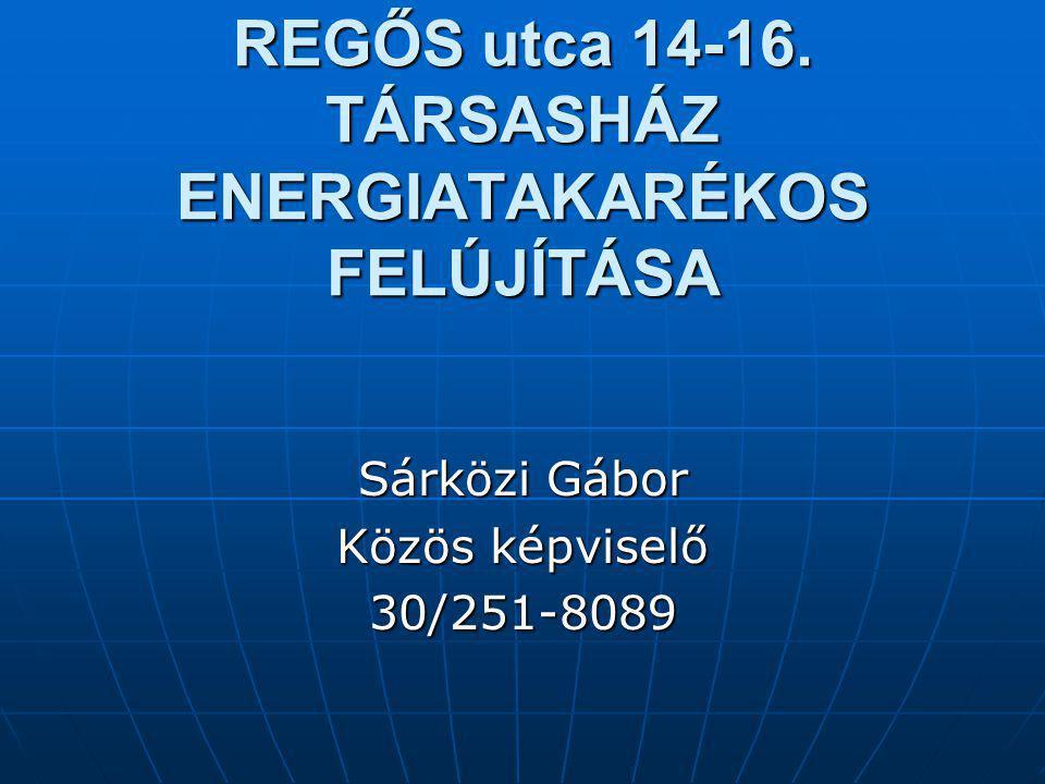 REGŐS utca 14-16. TÁRSASHÁZ ENERGIATAKARÉKOS FELÚJÍTÁSA Sárközi Gábor Közös képviselő 30/251-8089