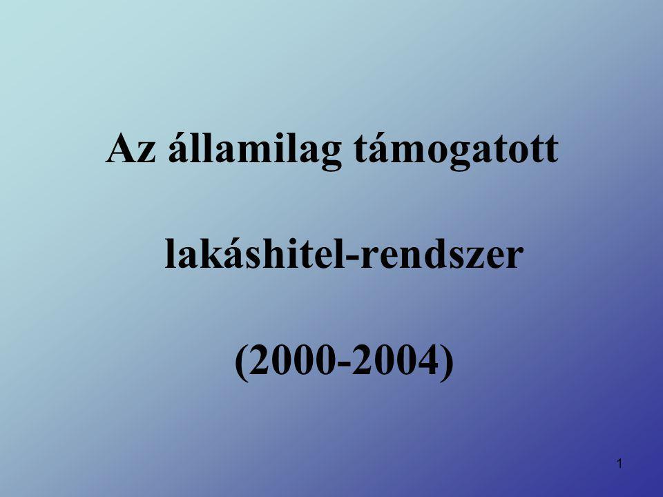 2 Lakáshitel-rendszer (2000-2004) A lakáshelyzet alakulása a rendszerváltás után: Megszűnő állami lakásépítés Egyre magasabb kamat a lakásépítési hitelekre A magyar gazdaság egyre rosszabb helyzete '90-es évek közepén kismértékű javulás (1996-1997) '98 – újabb hanyatlás (oka elsősorban az orosz gazdasági válság)