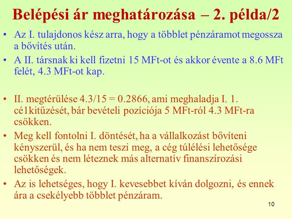 10 Belépési ár meghatározása – 2.példa/2 Az I.