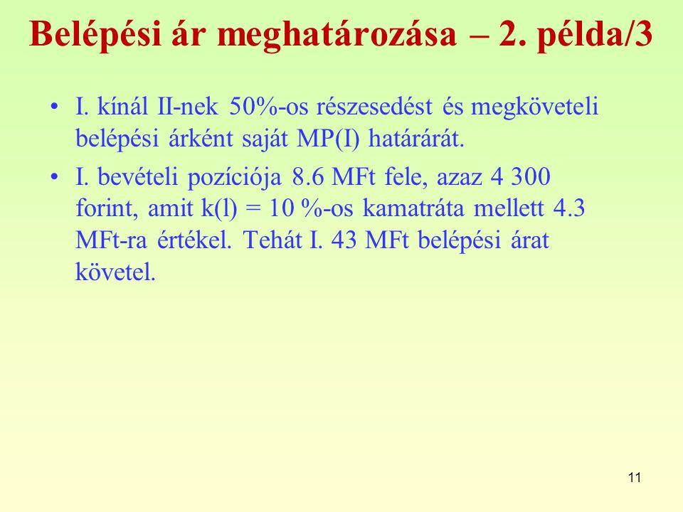 11 Belépési ár meghatározása – 2.példa/3 I.