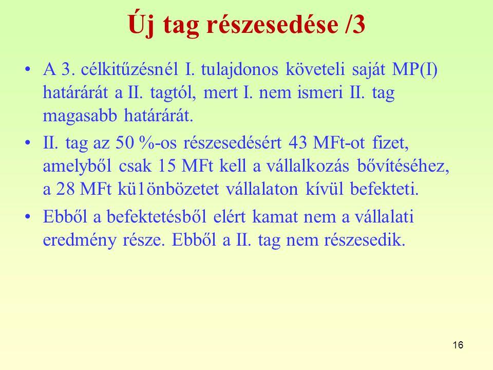 16 Új tag részesedése /3 A 3.célkitűzésnél I. tulajdonos követeli saját MP(I) határárát a II.