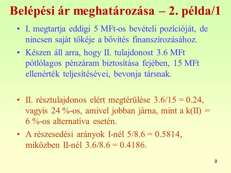 9 Belépési ár meghatározása – 2.példa/1 I.