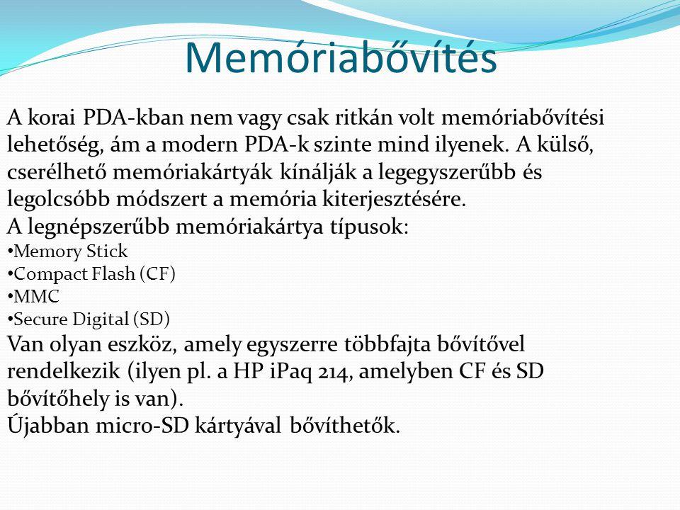 Memóriabővítés A korai PDA-kban nem vagy csak ritkán volt memóriabővítési lehetőség, ám a modern PDA-k szinte mind ilyenek. A külső, cserélhető memóri